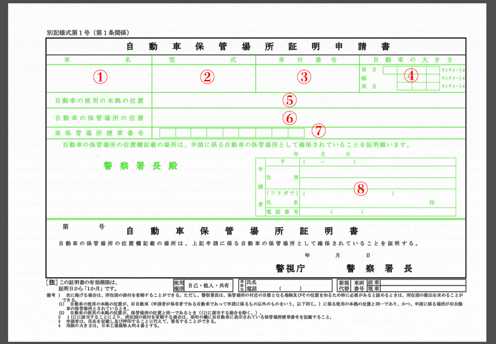 How to write an application form of car storage location certificate (jidousha hokanbasho shoumei shinseisho: 自動車保管場所証明申請書)